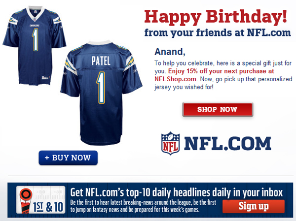 NFL Truly Personalizes Email Marketing